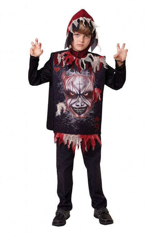 Boys Devil Tabard + Hood Costume Satan Demon Halloween Fancy Dress